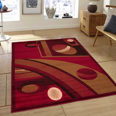 Almira Bordered Colorblock Red Area Rug Rug Size: 52 x 72