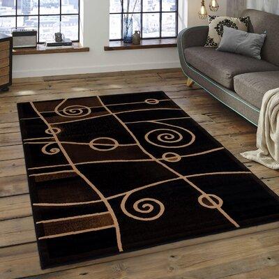 Almont Combo Swirl Black Area Rug Rug Size: 710 x 102