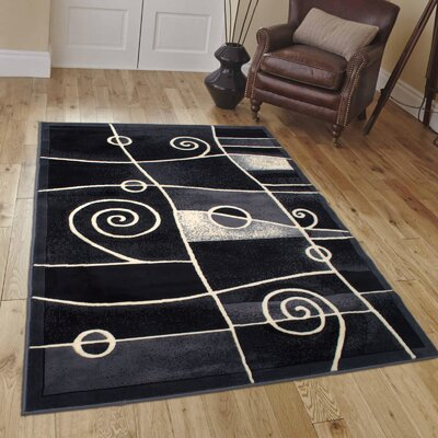 Almont Combo Chic Swirl Gray Area Rug Rug Size: 52 x 72