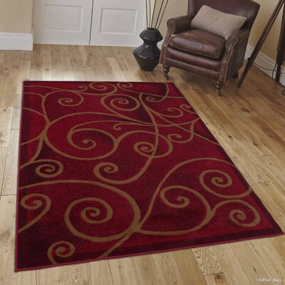Whitaker Red Area Rug Rug Size: 52 x 72