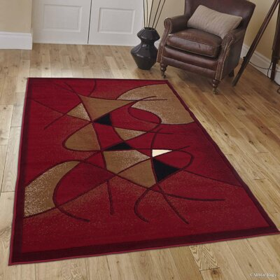 Schaefer Swirl Red Area Rug Rug Size: 52 x 72