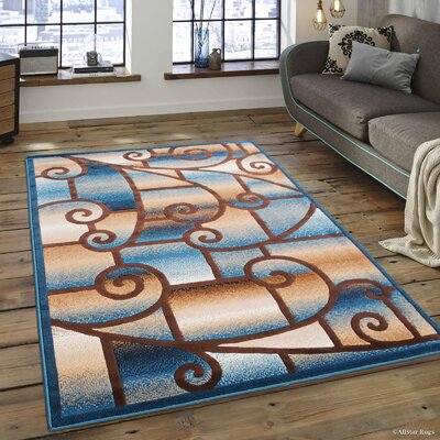Alicia Carpet Blue Area Rug Rug Size: 52 x 72