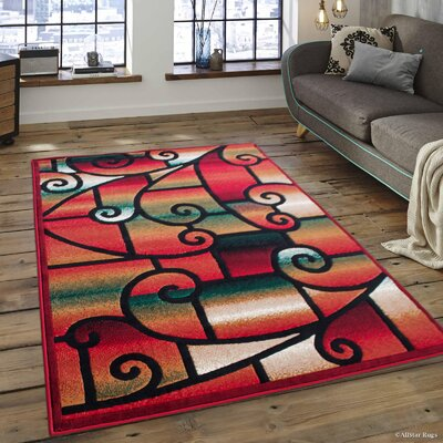 Alicia Red Area Carpet Rug Rug Size: 52 x 72