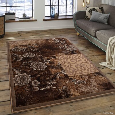 Alicia Floral Berber Area Rug Rug Size: 52 x 72