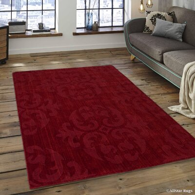 Alicia Ultra-Soft High-Quality Wool Bold Designed Burgundy Area Rug Rug Size: 411 x 7