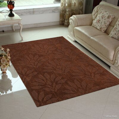 Kelley Ultra-Soft High-Quality Wool Bold Floral Designed Modern Hand Made Espresso Area Rug Rug Size: 711 x 911