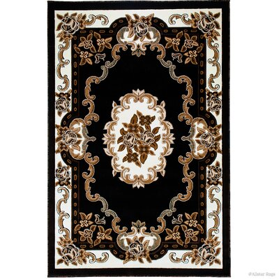 Andrews 18th Century Vintage Floral Bordered Black Area Rug Rug Size: 7'10
