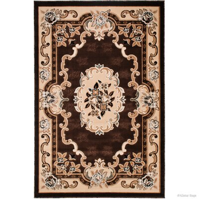 Andrews 18th Century Vintage Floral Bordered Chocolate Area Rug Rug Size: 52 x 72