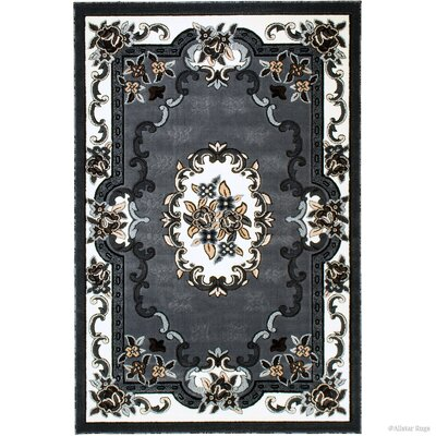 Andrews 18th Century Vintage Floral Bordered Gray Area Rug Rug Size: 710 x 102