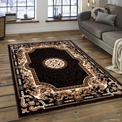 Berwick Floral Bordered Black Area Rug Rug Size: 52 x 72