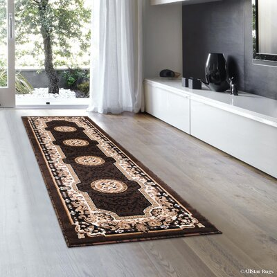 Berwick Floral Bordered Chocolate Area Rug Rug Size: Runner 2 x 72