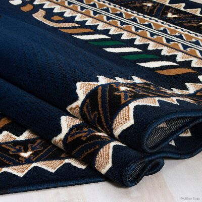 Iberide High-Quality Woven Navy Area Rug Rug Size: 52x 7 2