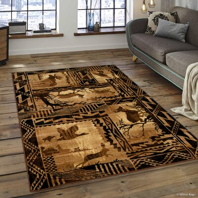 Iberide High-Quality Woven Ultra-Soft Southwest Wilderness Theme Berber Area Rug Rug Size: 77 x 106