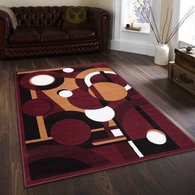 Willy Burgundy Area Rug Rug Size: 77 x 106