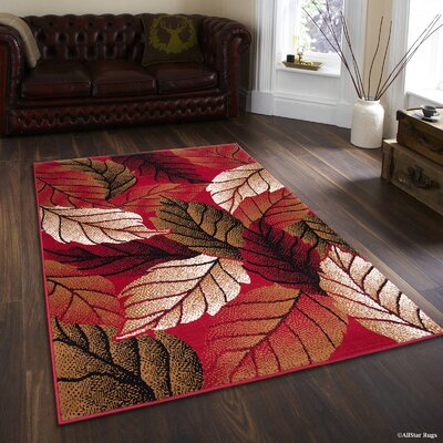 Landry Abstract Dynamix Leaves Designed Red Area Rug Rug Size: 77 x 106