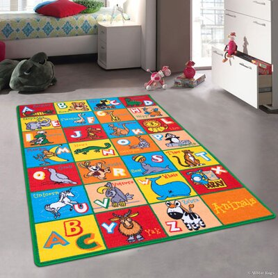 Angelique Learn ABC / Alphabet Letters with Animals Bright Colorful Vibrant Colors Kids / Baby Room Area Rug Rug Size: 73 x 102