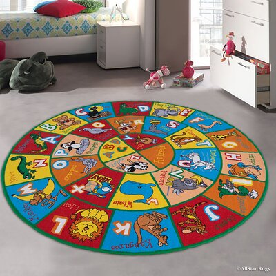 Angelique Learn ABC / Alphabet Letters with Animals Bright Colorful Vibrant Colors Kids / Baby Room Area Rug Rug Size: Round 77