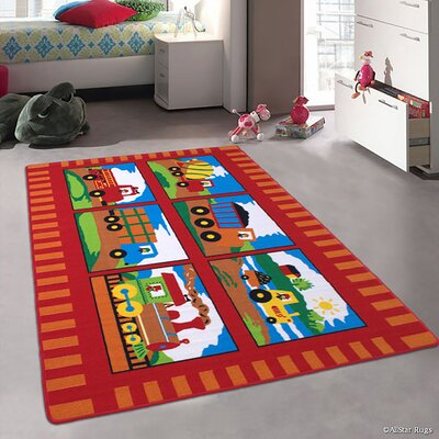 Lenny Trucks and Trains Kids/Baby Room Red Area Rug Rug Size: 73 x 102