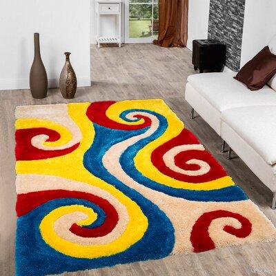 Kasper Soft 3D Spiral Multicolor Area Rug Rug Size: 76 x 105