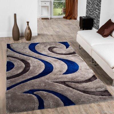 Kasper Soft 3D Swirl Blue Area Rug Rug Size: 76 x 105