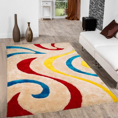 Kasper Soft 3D Swirl Multi Area Rug Rug Size: 76 x 105