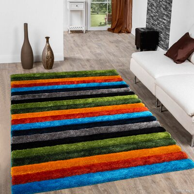 Keane Green/Blue/Orange Area Rug Rug Size: 5 x 7