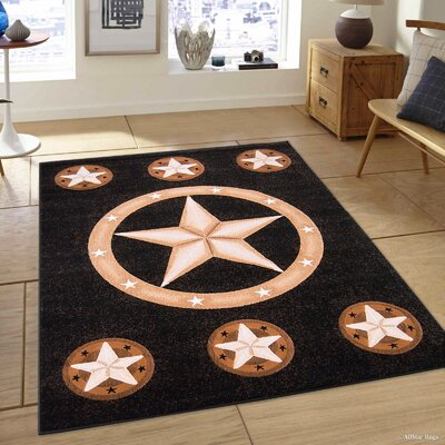 Hand-Tufted Black Area Rug Rug Size: 52 x 72