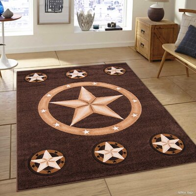 Hand-Tufted Chocolate Area Rug Rug Size: Rectangle 52 x 72