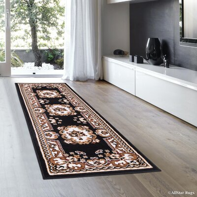 Hand-Woven Black Area Rug Rug Size: Rectangle 77 x 106