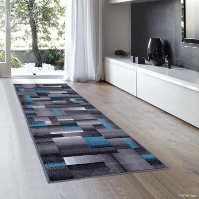 Rowe Blue Area Rug Rug Size: Runner 23 x 611