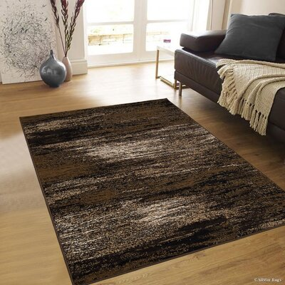 Mandela High Quality Exclusive Drop-Stitch Ombre Brush Streak Designed Chocolate Area Rug Rug Size: 710 x 10