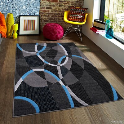 Keeler High Quality Exclusive Drop-Stitch Linear Designed Blue Border Area Rug Rug Size: 5 x 611