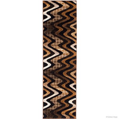 Keeler High-Quality Drop-Stitch Distressed Wavy Linear Chocolate Area Rug Rug Size: Runner 23 x 611