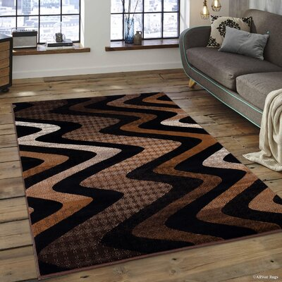 Keeler High-Quality Drop-Stitch Distressed Wavy Linear Chocolate Area Rug Rug Size: 710 x 10