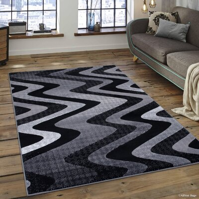 Keeler High-Quality Drop-Stitch Distressed Wavy Linear Shadow Area Rug Rug Size: 5 x 611