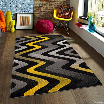 Keeler High-Quality Drop-Stitch Distressed Wavy Linear Yellow Area Rug Rug Size: 710 x 10