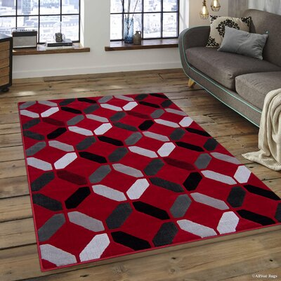 Rowe Red Area Rug Rug Size: 5 x 611