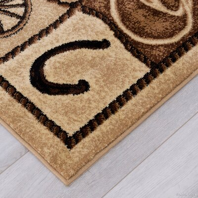 Labrosse Beige/Brown Area Rug Rug Size: 52 x 72