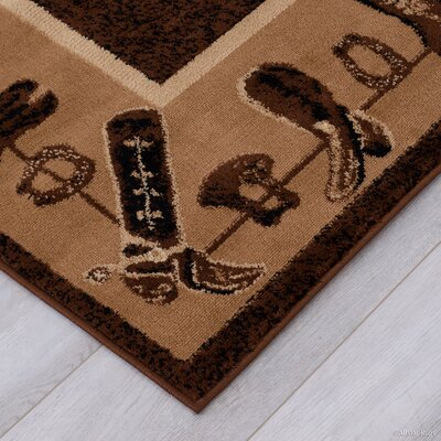 Lacour High Quality Woven Ultra-Soft Cowboy Shoe Berber Area Rug Rug Size: 52 x 72