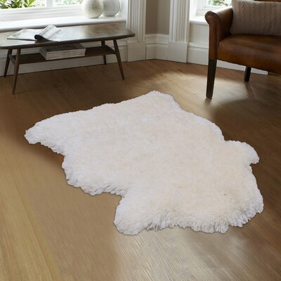 Devyn High-Quality Faux Sheep Non-Shedding Ultra-Soft Solid Shaggy Polar Bear Body Ivory Area Rug