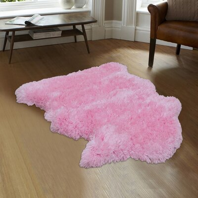 Hand-Woven Faux Sheepskin Pink Area Rug Rug Size: 8 x 11