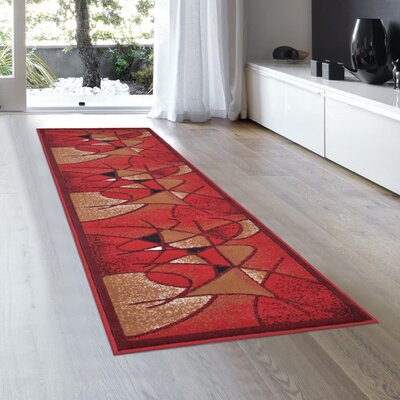 Schaefer Swirl Red Area Rug Rug Size: Runner 2 x 72