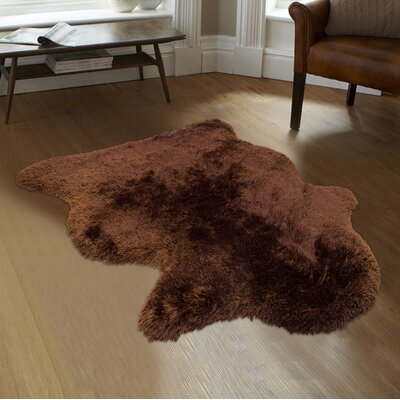 Hand-Tufted Faux Sheepskin Chocolate Area Rug Rug Size: Rectangle 3 x 5