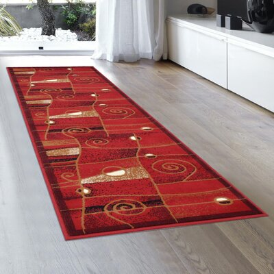 Almira Bordered Colorblock Red Area Rug Rug Size: Runner 2 x 72