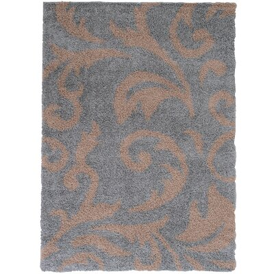Finchley High Pile Posh Shaggy Paisley Printed Silver Area Rug Rug Size: 5 x 7