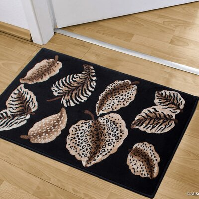 Hopkins Animal Skin Themed Leaves Doormat