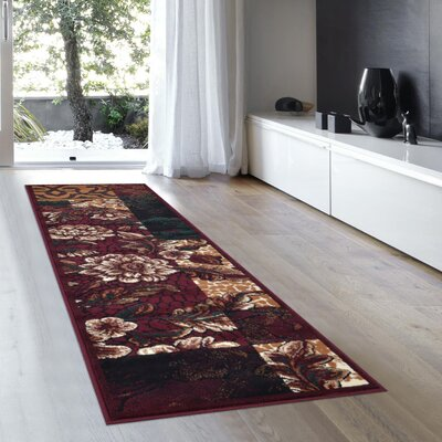 Alicia Floral Burgundy Area Rug Rug Size: 710 x 102