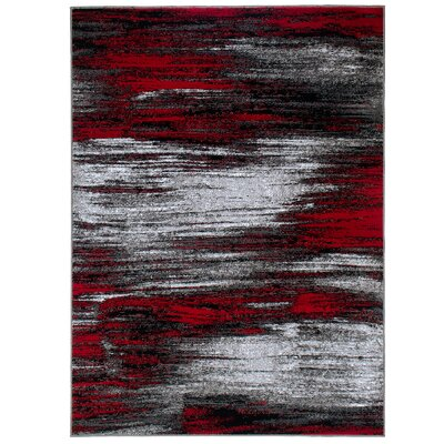 Andrew High Quality Exclusive Drop-Stitch Ombre Brush Streak Designed Red Area Rug Rug Size: 710 x 10