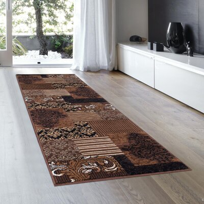 Butler High-Quality Floral Designed Chocolate Area Rug Rug Size: Runner 23 x 611