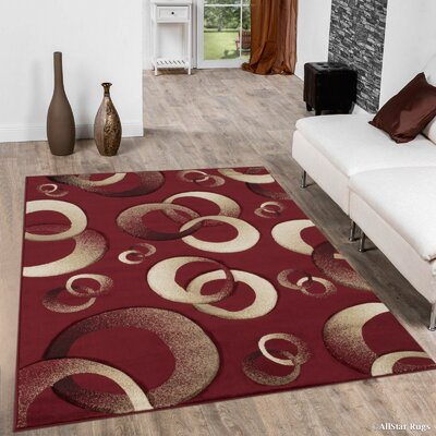 Circles Red Area Rug Rug Size: Rectangle 52 x 72